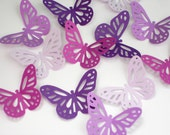 25 Mixed Purple Monarch Butterflies punch die cut confetti scrapbook embellishments - paper crafts and party supplies - No643