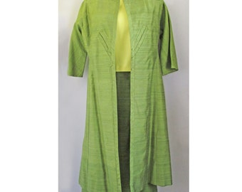 1960s two piece green Coat and Wiggle Skirt duo in Thai Silk