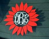 Sunflower Monogram Decal - Car Decal - Flower - Vine - Monogrammed - Window