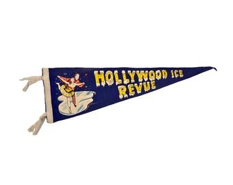 Vintage Pennant Hollywood Ice Revue, Souvenir Figure Skating Pennant Banner