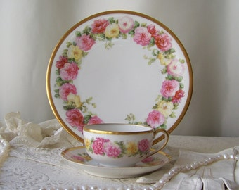 Vintage Tea Set Limoges France Porcelain Teacup Saucer Plate TV Limoges Pink Roses Gold Trim Spring Wedding Gift Vintage 1960s