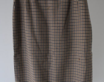 SALE 70s Vintage Pencil Brown Aquascutum Checked Skirt