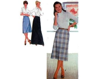 """70s  Women's Maxi Skirt Sewing Pattern Three Lengths Back Zipper A Line Waistband Vintage Size 14 Waist 38"""""""" (71 cm) Simplicity 9070 S"""
