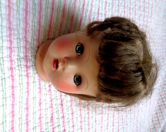 Magda Antique Ceramic Doll Head Doll Parts Hand Painted Doll Toy Moveable Mechanical Eyes OC