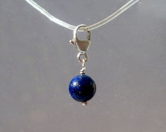 Lapis Charm - Natural Blue Lapis Lazuli Clip On Charm  - Round  Bead in Silver for Bracelet or Necklace - Add On Charm