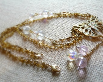Butterfly Multi-strand Necklace, Upcycled Vintage Jewelry, Vintage Crystal Pendant, Layered Gold-Tone Chains, Spring Jewelry, Gift For Mom
