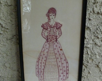 Victorian Lady Drawing, Framed. Dress, Hat, Muff, Fashion. Original Pen & Ink Art Picture. Vintage 1930s. Pink Purple. Signed Pearl Decker.