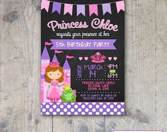 CHALKBOARD PRINCESS Birthday Invitation 5x7 - Girl Printable