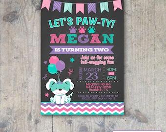 CHALKBOARD PUPPY CHEVRON Birthday Invitation 5x7 - Girl Printable