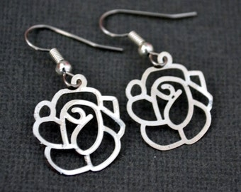 Filigree Lazer Lace Silver Roses . Earrings . Rosalie Collection