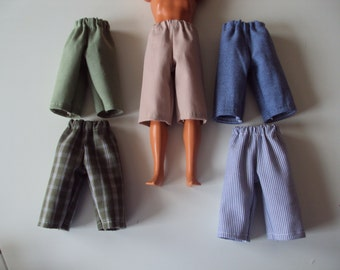 """NEW 5 pair Long Shorts for 12"""" Boy Fashion Dolls ~ Clothes for Barbies Friend Ken"""