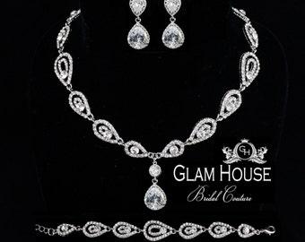 Art Deco Bridal Jewelry Set- Wedding necklace set , zirconia bridal earrings , vintage style bracelet,bridal jewelry set,teardrop earrings