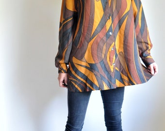 Mustard and Brown Silky Oversized 80s Blouse