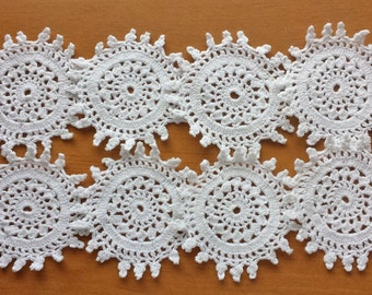 8 Vintage Hand Crocheted Doilies, 2.5 inch Crochet Appliques, Small Craft Doilies