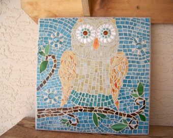 Cute Owl Wall Art Stained Glass Mosaic Art Owl Wall Decor Girl's Room Decor Mosaic Owl Wall Hanging Turquoise Decor Unique Gift
