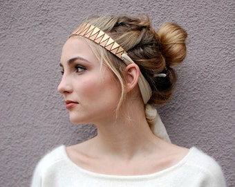 Last one! Boho Head Piece Headband Leather Tulle Pink and Gold Handmade Chevron