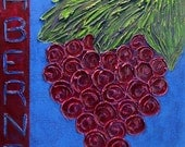 """18x24 """"Cabernet"""" Palette Knife Acrylic Painting...Grapes and Wine Painting...Winery Art"""