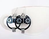 Bicycle Owl Earrings Sterling Silver & Black Steel