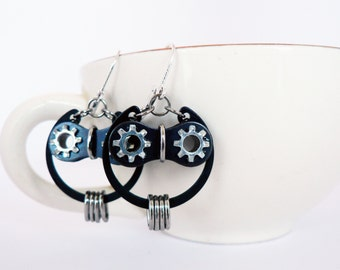Bicycle Owl Earrings Sterling Silver & Black Steel