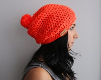 Bright Orange Slouchy Beanie Pom Pom Hat, EDM Neon Orange Accessories