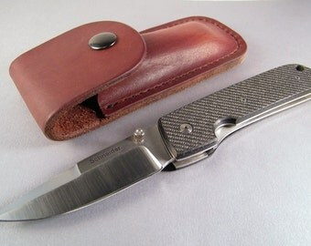 Handmade Folding Knife SHIPS IMMEDIATELY Linerlock Folding Knife Titanium Carbon Fiber Handle Custom Leather Sheath