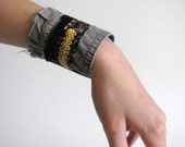 military brown and floral wrist cuff - shabby chic - boho - repurposed wrist cuff - golden trim accent - black gold brown