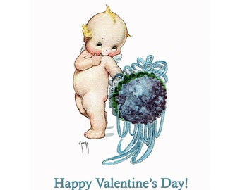 Valentines Day Card - Kewpie with a Nosegay of Flowers Valentine