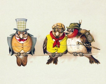 Bird Greeting Card - Birds in Clothing - All Three or Just One Choices