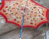 Kawaii Print Fabric Child's Umbrella Parasol With Wooden Kokeshi Doll Handle