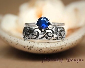 Sapphire Classic Solitaire Scroll Wedding Band Set in Sterling - Silver Engagement Ring Set with Wide Fitted Band - Choose Your Stone