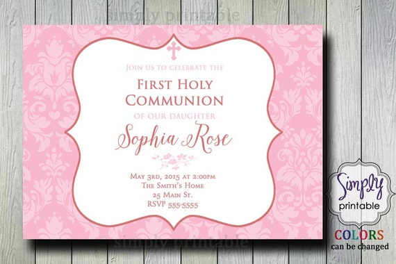 Baptism/Communion Invitation - Pink Damask