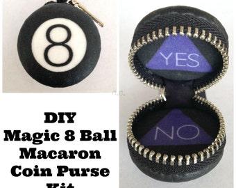 DIY Magic 8 Ball Masquerading Macaroon Coin Purse Key Fob Kit
