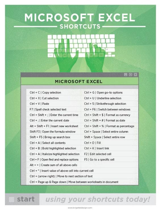 shortcut keys for excel pdf