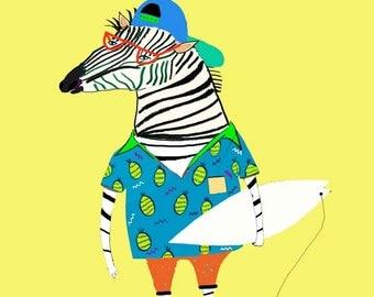 Zebra Surfer in Pineapple Shirt. Wall art for kids, illustration, poster, wall decor, surf art, wall art, children's room.
