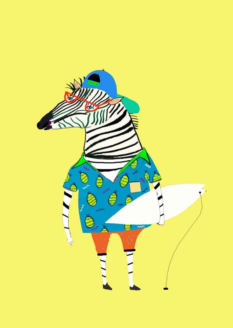Zebra Surfer In Pineapple Shirt Wall Art For By