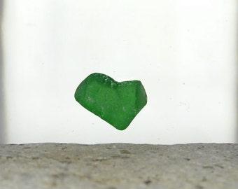 Green Sea Glass Heart, Genuine Seaglass, Valentine Gift, Love Lover, Ocean Nautical, Jewelry Grade, Keepsake, Broken Heart, Beach Glass
