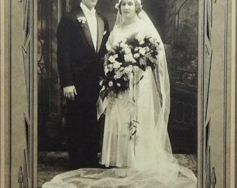 Beautiful Bride & Groom Wedding Photo Portrait in Cardboard Frame, Krawczyk Studio Syracuse NY, 7x10in, Antique Art Deco Ephemera c1920s (A)