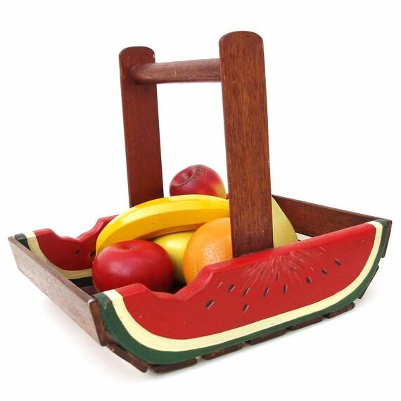 Vintage Wooden Fruit Bowl Wood Basket Wooden Fruits By