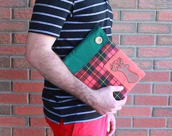 iPad Cover - Plaid - Deer padded ipad sleeve