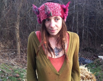 Woodland Hippie Wool Earwarmer in Red and Magenta / Hand-spun, Hand-dyed Wool Crochet Headband