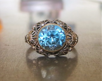 Antique Blue Zircon Art Nouveau Ring -Unique Engagement Ring- Vintage Edwardian Ring-Right Hand Ring - Statement Ring- Promise Ring