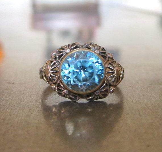 antique blue zircon nouveau ring unique engagement ring