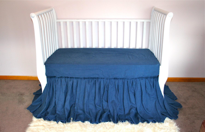blue linen crib skirt bedding dust ruffle skirt in blue denim