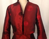 Ruby Red Dot Embroidered Taffeta Cropped Jacket, Custom Made to Order