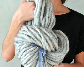 Super Bulky Yarn Light Grey Handspun Alpaca Wool Hand spun Big knitting supplies crochet supplies