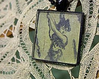 Vintage Burlesque Swinger Pendant - Black- Resin