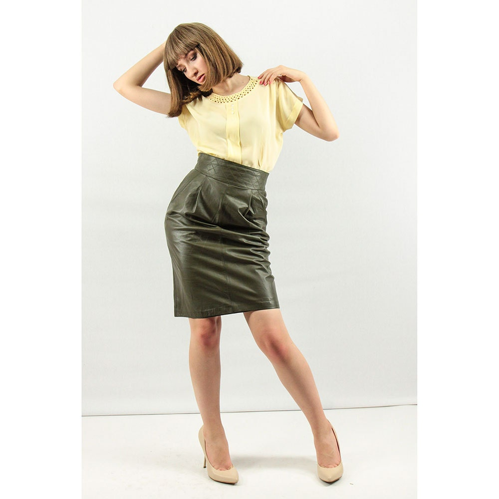 leather pencil skirt vintage leather skirt olive green
