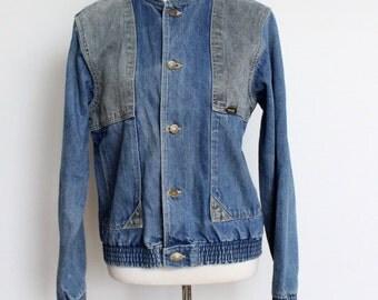 Vintage Wrangler Denim Jacket Womens  //  Wrangler Bomber Style Jean Jacket