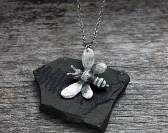 Honey Bee Pendant Necklace in silver pewter