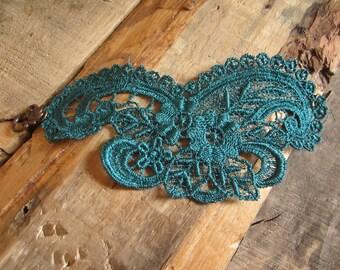 Hunter Green Lace Bracelet, Venice Lace, green cuff bracelet, handmade lace, cuff bracelet, green cuff, victorian, hunter green,